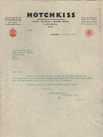 19310507 Hotchkiss Lettre Usine