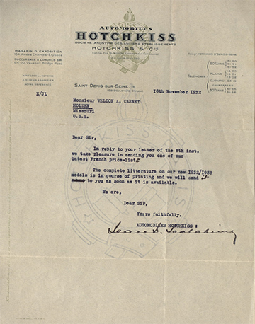 19321118 Hotchkiss Lettre Usine