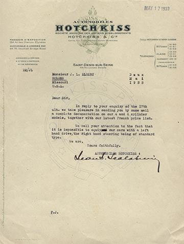 19330517 Hotchkiss Lettre Usine