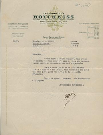 19341204 Hotchkiss Lettre Usine