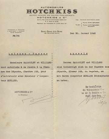 19420130 Hotchkiss Laissez Passer