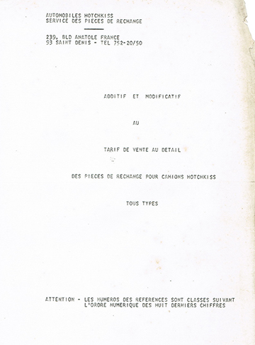 19660500 Hotchkiss Tarif Pieces