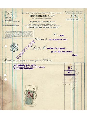 19200925 Hotchkiss Facture Usine