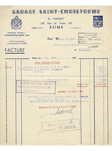 19460611 Saint-Christophe Facture