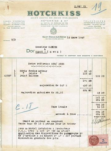 19470313 Hotchkiss Facture