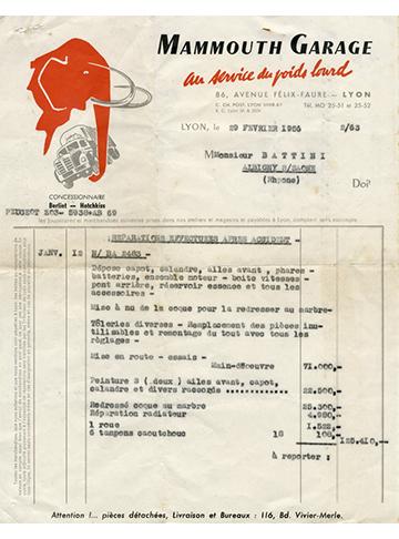 19560229 Mammouth Garage Facture