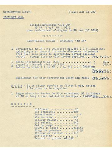 19561200 Tarif Zenith-Stromberg 32 IN PL20