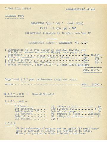19561200 Tarif Zenith-Stromberg 36 WI 864