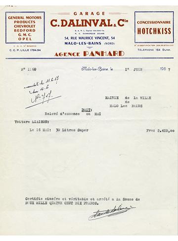 19570601 Facture 1160