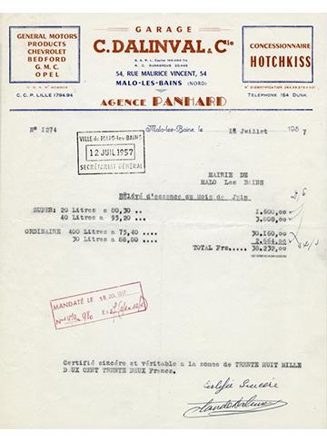 19570718 Facture 1274