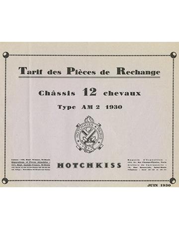 19300600 Hotchkiss Tarif Pieces Rechange type AM2