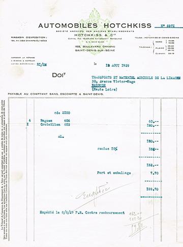 19290818 Hotchkiss Usine Facture
