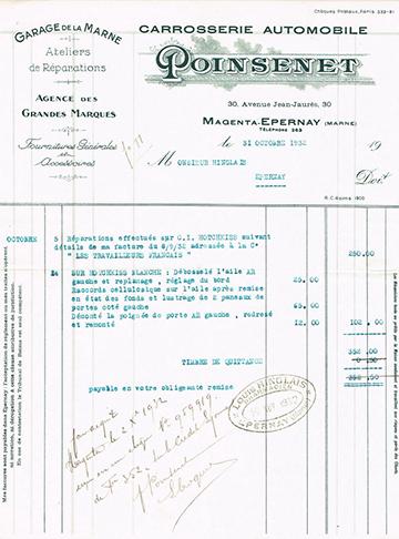 19321031 Poinsenet Facture