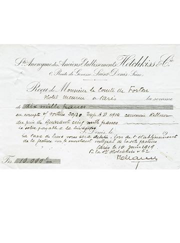 19190610 Reçu Comte Forton