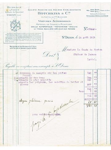 19190814 Facture Comte Forton
