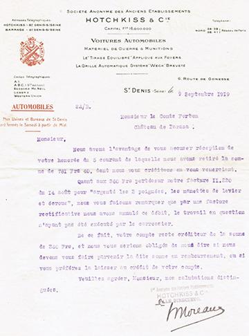 19190909 Lettre Comte Forton