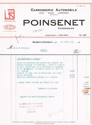 19330412 Poinsenet Facture Hotchkiss