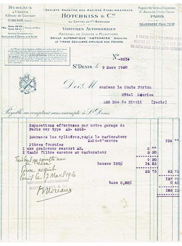 19200309 Facture Comte Forton