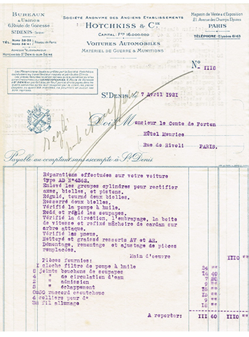 19210407 Facture Comte Forton