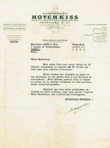 19330728 Lettre Usine Dreye