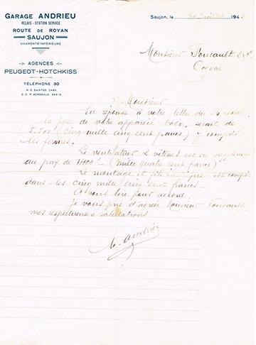 19420730 Garage Andrieu Lettre