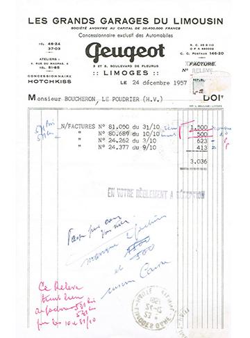 19571224 Peugeot Hotchkiss Facture