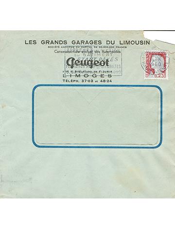19600825 Peugeot Hotchkiss Enveloppe